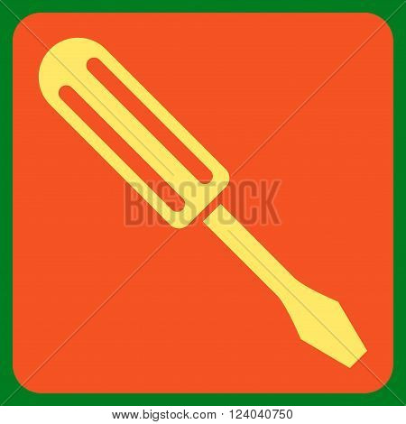 Screwdriver vector icon symbol. Image style is bicolor flat screwdriver iconic symbol drawn on a rounded square with orange and yellow colors.