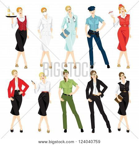 Vector illustration of different professional woman in formal clothes isolated on white background.