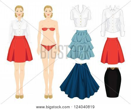 Paper doll with clothes. Body template. Set of template paper clothes. Clothes for office, clothes for holiday. Different model of skirt. Base wardrobe. Girl in red skirt with folds and white blouse