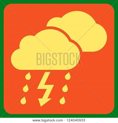 Thunderstorm vector pictogram. Image style is bicolor flat thunderstorm pictogram symbol drawn on a rounded square with orange and yellow colors.