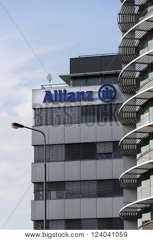 Prague, Czech Republic - March 31: Financial And Insurance Group Allianz Logo On The Building Of The