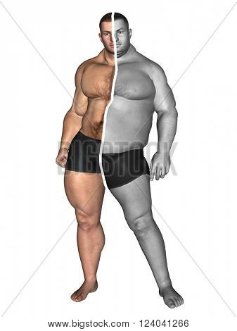 3D illustration of concept or conceptual 3D fat overweight vs slim fit with muscles young man on diet isolated on white background