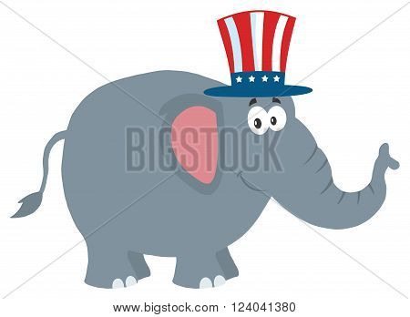 Republican Elephant Cartoon Character With Uncle Sam. Illustration Flat Design Style