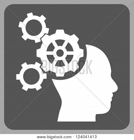 Brain Mechanics vector pictogram. Image style is bicolor flat brain mechanics icon symbol drawn on a rounded square with dark gray and white colors.