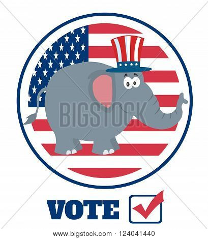 Elephant Cartoon Character With Uncle Sam Hat Over USA Flag Label And Text
