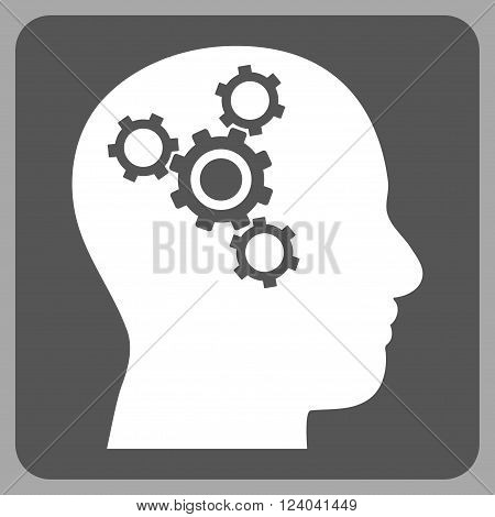 Brain Mechanics vector icon. Image style is bicolor flat brain mechanics pictogram symbol drawn on a rounded square with dark gray and white colors.