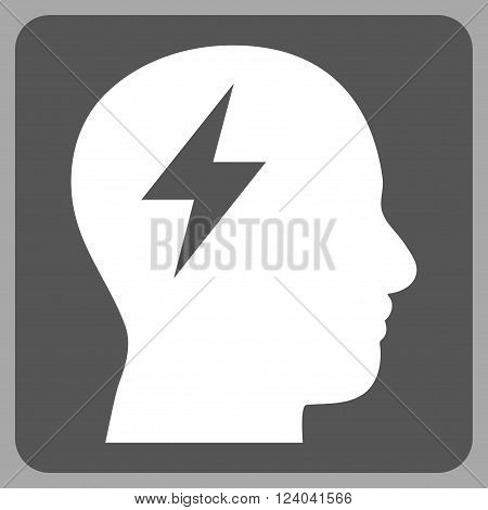 Brainstorming vector icon symbol. Image style is bicolor flat brainstorming pictogram symbol drawn on a rounded square with dark gray and white colors.