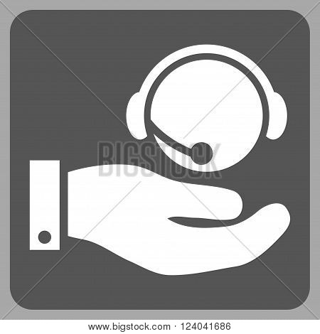Call Center Service vector symbol. Image style is bicolor flat call center service iconic symbol drawn on a rounded square with dark gray and white colors.