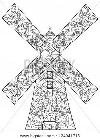 Windmill coloring book for adults vector illustration. Anti-stress coloring for adult. Zentangle style. Black and white lines. Lace pattern