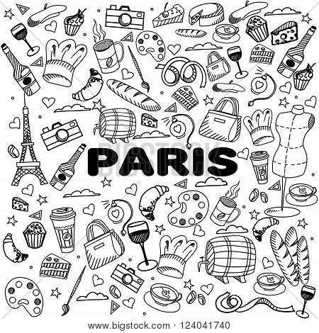 Paris coloring book line art design vector illustration. Separate objects. Hand drawn doodle design elements.