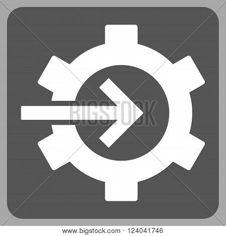 Cog Integration vector icon symbol. Image style is bicolor flat cog integration iconic symbol drawn on a rounded square with dark gray and white colors.