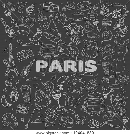 Paris chalk line art design vector illustration. Separate objects. Hand drawn doodle design elements.