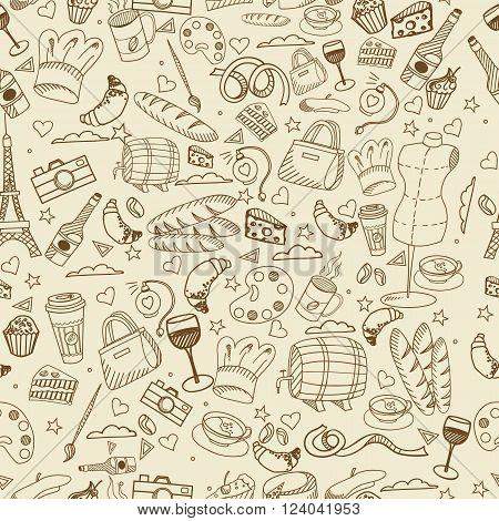 Paris seamless line art design vector illustration. Separate objects. Hand drawn doodle design elements.
