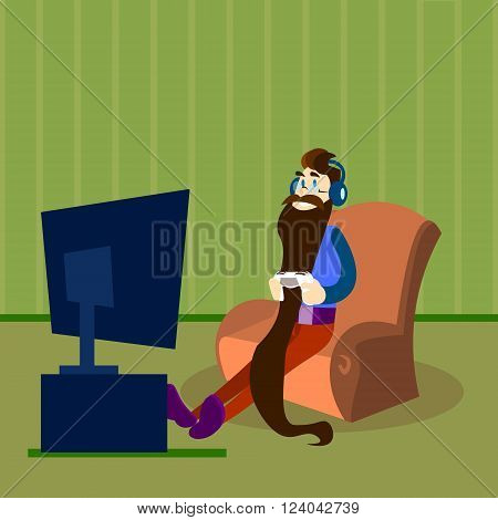 Man Play Video Game, Bearded Guy Hold Gaming Console Remote Control Headphones Sit In Armchair TV Computer Gamer Flat Vector Illustration