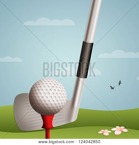 an illustration of Golf ball and club