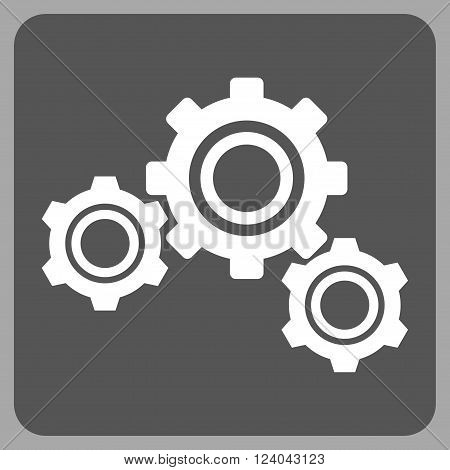 Gears vector icon. Image style is bicolor flat gears icon symbol drawn on a rounded square with dark gray and white colors.