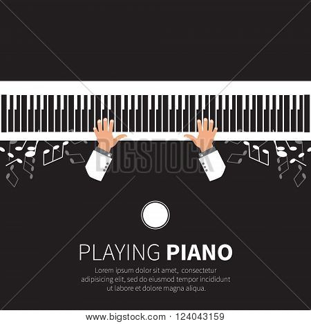 Man playing piano. Pianist. Grand piano and chair. Music instrument. Vector illustration