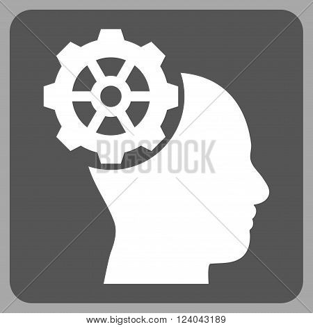 Head Gear vector icon symbol. Image style is bicolor flat head gear iconic symbol drawn on a rounded square with dark gray and white colors.
