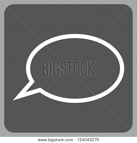 Hint Cloud vector pictogram. Image style is bicolor flat hint cloud pictogram symbol drawn on a rounded square with dark gray and white colors.