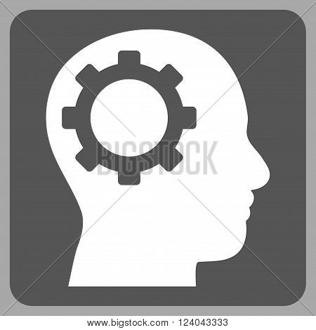 Intellect Gear vector icon symbol. Image style is bicolor flat intellect gear iconic symbol drawn on a rounded square with dark gray and white colors.