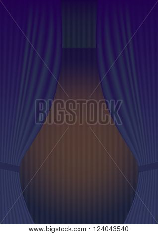 Blue Curtain Theatre reopening. Vector background for invitations, announcements of events and exhibitions in album letter format