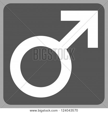 Male Symbol vector pictogram. Image style is bicolor flat male symbol icon symbol drawn on a rounded square with dark gray and white colors.