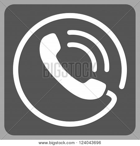 Phone Call vector pictogram. Image style is bicolor flat phone call iconic symbol drawn on a rounded square with dark gray and white colors.