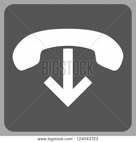 Phone Hang Up vector icon. Image style is bicolor flat phone hang up icon symbol drawn on a rounded square with dark gray and white colors.