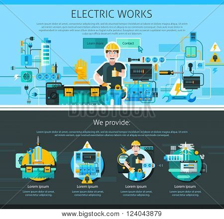 Electrician one page design with advertising symbols flat vector illustration