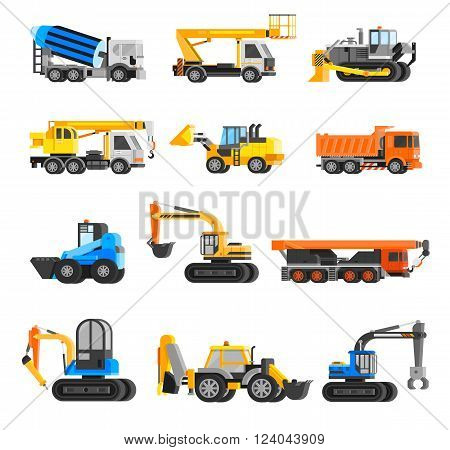 Construction machines orthogonal icons set with digger and crane flat isolated vector illustration