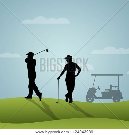 an illustration of two golfers playing golf