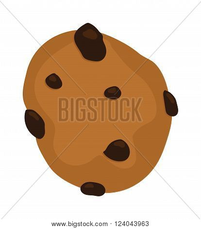 Gingerbread cookie isolated on a white background. Chocolate chip cookie on white. Gingerbread cookie sweet food. Gingerbread cookie traditional biscuit. Gingerbread cookie round dessert.