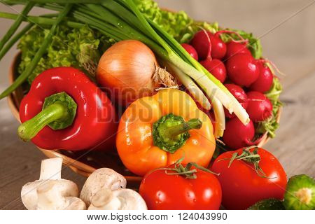 Vegetables . Fresh Bio Vegetable in a Basket. Over Nature Background.