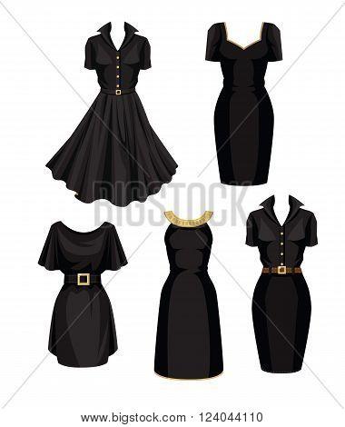 Vector illustration of different models of little black dress