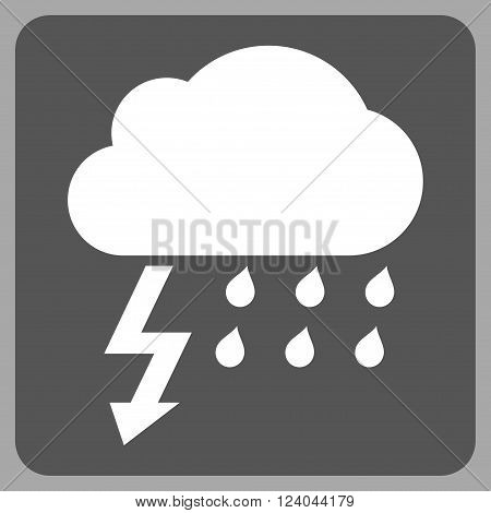 Thunderstorm vector icon. Image style is bicolor flat thunderstorm iconic symbol drawn on a rounded square with dark gray and white colors.