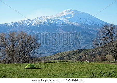 green tent and volcano Etna from Nebrodi Park, Sicily