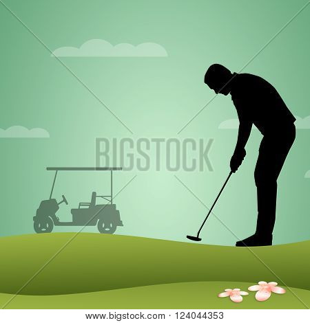 an illustration of a golfer playing golf