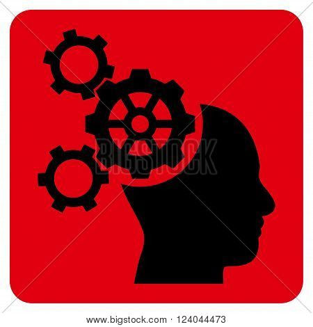 Brain Mechanics vector icon symbol. Image style is bicolor flat brain mechanics iconic symbol drawn on a rounded square with intensive red and black colors.