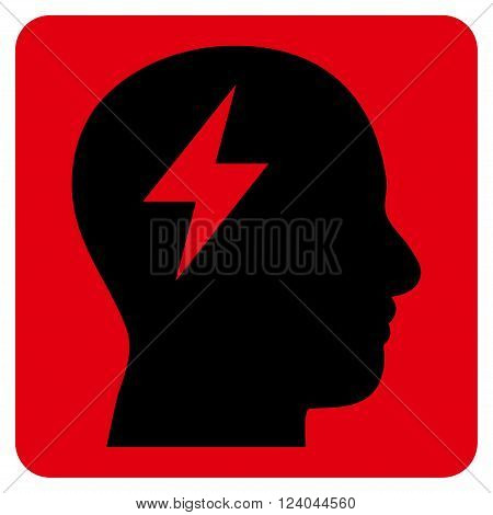 Brainstorming vector symbol. Image style is bicolor flat brainstorming icon symbol drawn on a rounded square with intensive red and black colors.
