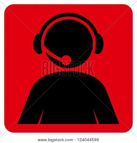 Call Center Operator vector pictogram. Image style is bicolor flat call center operator iconic symbol drawn on a rounded square with intensive red and black colors.