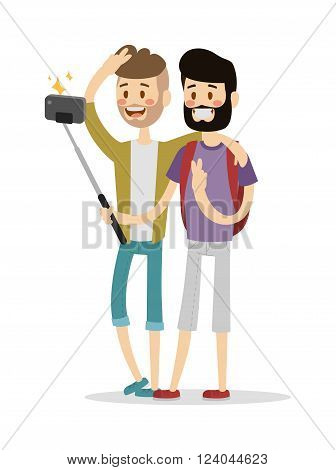 Selfie friends mans gays couple vector illustration. Selfie shot man, friends, gays. Vector selfie people set. Modern life with selfie photo camera.