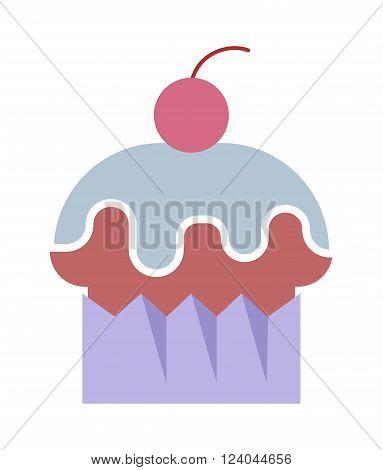 Organic cake vector illustration. Fresh cake isolated on white background. Some flat cake cartoon style. Vector cake modern style