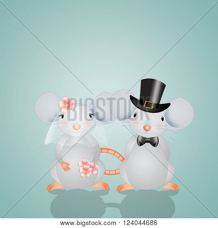 a Funny illustration of two mice married