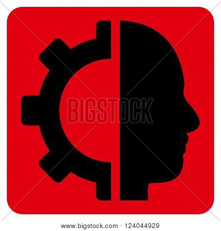 Cyborg Gear vector icon. Image style is bicolor flat cyborg gear iconic symbol drawn on a rounded square with intensive red and black colors.