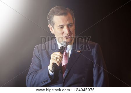 MADISON WI/USA - March 30 2016: Republican presidential candidate Ted Cruz speaks to a group of supporters during a rally before the Wisconsin presidential primary in Madison Wisconsin.
