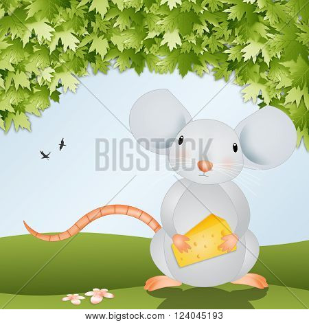 illustration of a  funny mouse with cheese