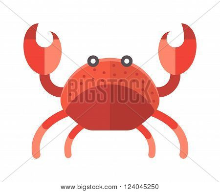 Cartoon crab funny vector illustration. Red crab isolated on white background vector. Flat red crab marine seafood character.