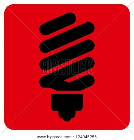 Fluorescent Bulb vector icon symbol. Image style is bicolor flat fluorescent bulb iconic symbol drawn on a rounded square with intensive red and black colors.