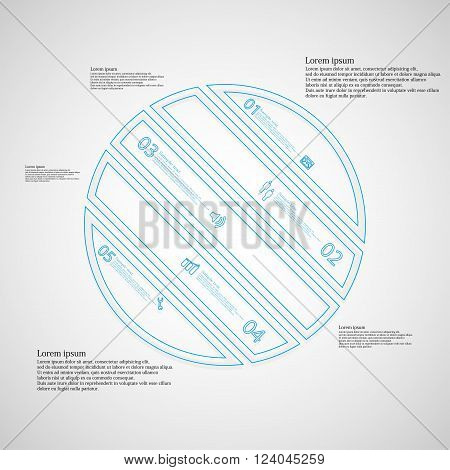 Illustration infographic template with circle askew divided to five parts created by double outlines from blue color. Each part has own number sign and text. Background is light.