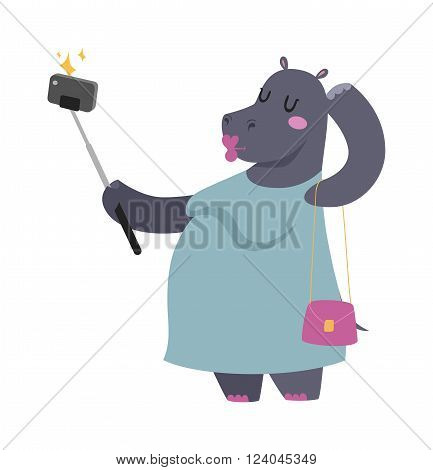 Selfie photo hippo fat woman vector portrait illustration on white background. Cartoon hippo fat woman, hippo vector.